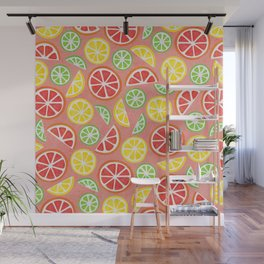 Vitamin C Super Boost - Citric Fruits on Peach Wall Mural