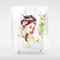 japanese Shower Curtains featuring Japanese by tatiana-teni