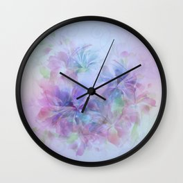 Soft Elegant Pastel Floral Abstract Wall Clock