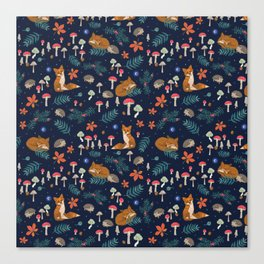 Fox and Hedgehog in Toadstool Woods In Blue Canvas Print