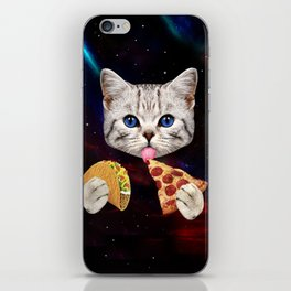 Space Cat with taco and pizza iPhone Skin