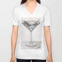 martini V-neck T-shirts featuring Addiction martini by CharlieValintyne