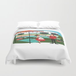Happy Campers Vintage Travel Trailers, Caravans, Campers and Glamping Art Duvet Cover