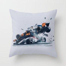 Formula One Crash Throw Pillow
