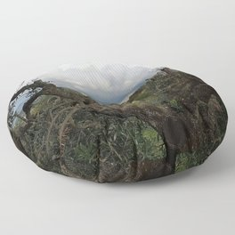 Countryside Hills Landscape with Olive Tree Floor Pillow