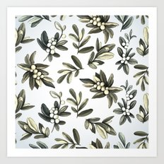 Pattern with mistletoe branches.  Watercolor Art Print