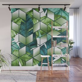 Tropical Cubic Effect Banana Leaves Design Wall Mural