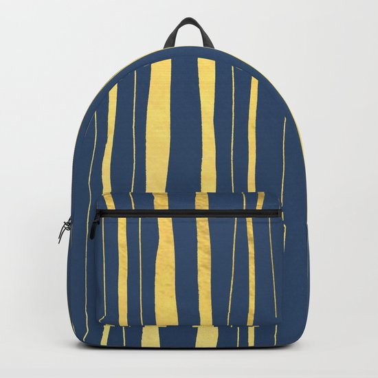 Vertical Living Navy and Gold Backpack