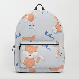 Happy Birthday Orange Fox Light Grey Background Pattern Backpack