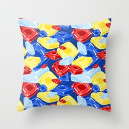 Square Hard Candy on Dark Blue Throw Pillow