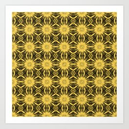 Primrose Yellow Floral Abstract Art Print
