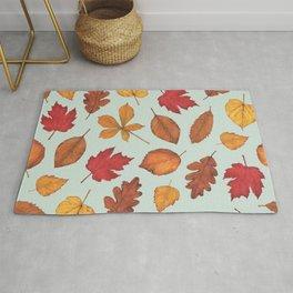 Autumn Leaves Illustration Pattern   Pale Green Leaves Pattern   Oak Linden Maple pattern Rug
