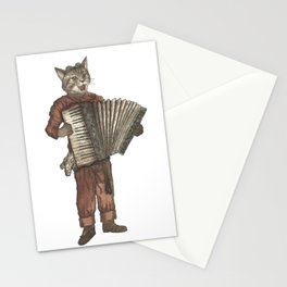 Accordion Cat with Goggles and Mask Stationery Cards