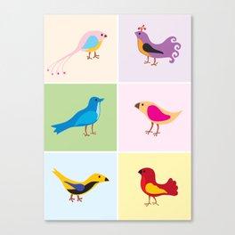 6 Little Birdies Print Canvas Print