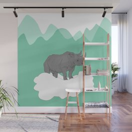 Floating Rhino Wall Mural