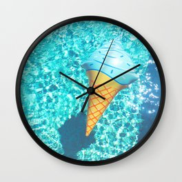 blue ice cream cone float all up in my pool yo Wall Clock