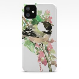 Chickadee and spring blossom iPhone Case