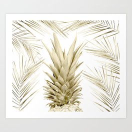 Gold Tropical Palm Pineapple Art Print