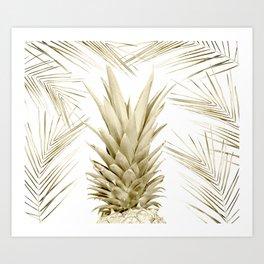 Gold Tropical Palm Pineapple Art Print