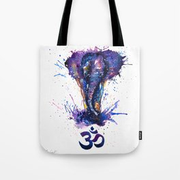 Watercolor Elephant Om Yoga Splatters Tote Bag