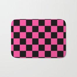 Black and Pink Checkerboard Pattern Bath Mat