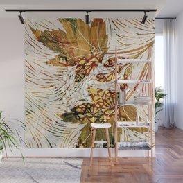 Digital collage - leaves like woodcut Wall Mural