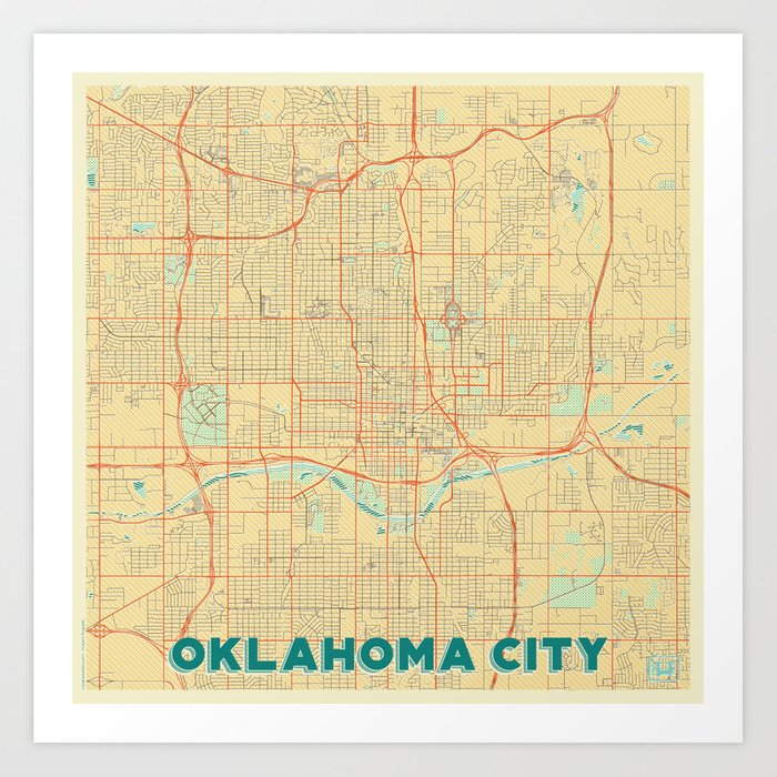 Oklahoma City Map Retro Art Print