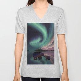 Aurora Bearealis  Unisex V-Neck