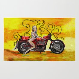 Pinup girl biker with Tattoo sign Rug