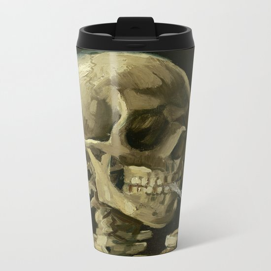 Vincent van Gogh - Skull of a Skeleton with Burning Cigarette Metal Travel Mug