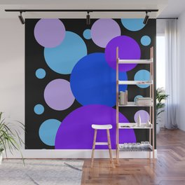 Dynamic Dots in Blue and Violet Composition on Black Background Wall Mural