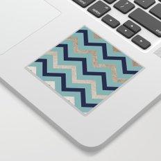 Marine zig zag - golden gradient turquoise Sticker