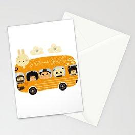 Yellow school bus kawaii back to school kindergarten love school teacher Stationery Cards