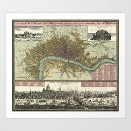 Vintage Map of London England (1740) Art Print