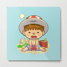 little boy & red crab Metal Print