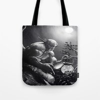 fireflies Tote Bags featuring Fireflies by Art by Justin