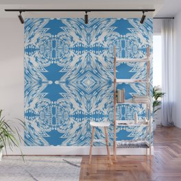 Blue and White Classy Psychedelic Wall Mural
