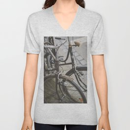 TWO BROWN AND BLACK COMMUTER__S BICYCLES Unisex V-Neck