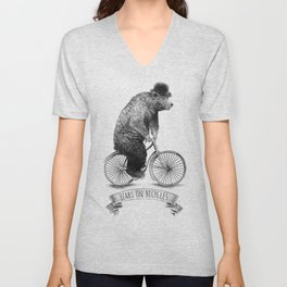 Bears on Bicycles (Lime) Unisex V-Neck