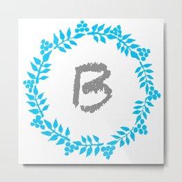 B White Metal Print