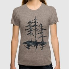 THE THREE SISTERS - Trees in Black and White Rustic Vintage Forest Adventure Art Tri-Coffee LARGE Womens Fitted Tee
