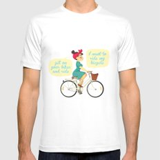 I want to ride my bike White MEDIUM Mens Fitted Tee