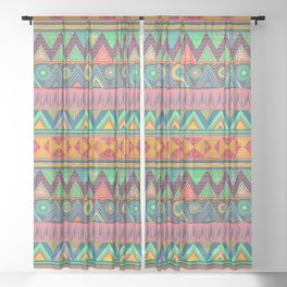 Tribal Ethnic (candy colors) Sheer Curtain
