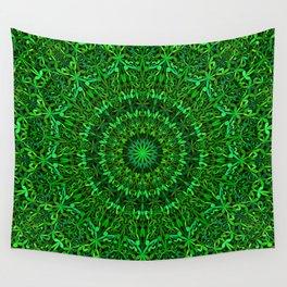 Green Spiritual Mandala Garden Wall Tapestry
