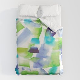 180719 Koh-I-Noor Watercolour Abstract 7| Watercolor Brush Strokes Duvet Cover