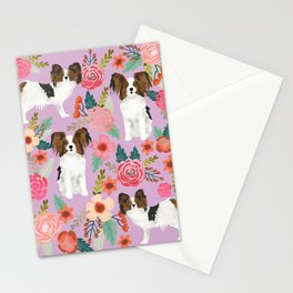 Papillon pet friendly small cute dog breed must have gift for dog lover florals dog pattern print Stationery Cards