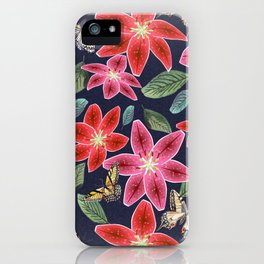 Lilies and Butterflies iPhone Case