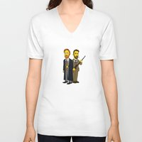 moriarty V-neck T-shirts featuring Moriarty & Moran by San Fernandez