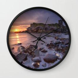 Spectacular sunrise at Kinbane Castle in Northern Ireland Wall Clock