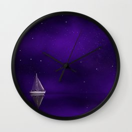 Purple Ship Wall Clock